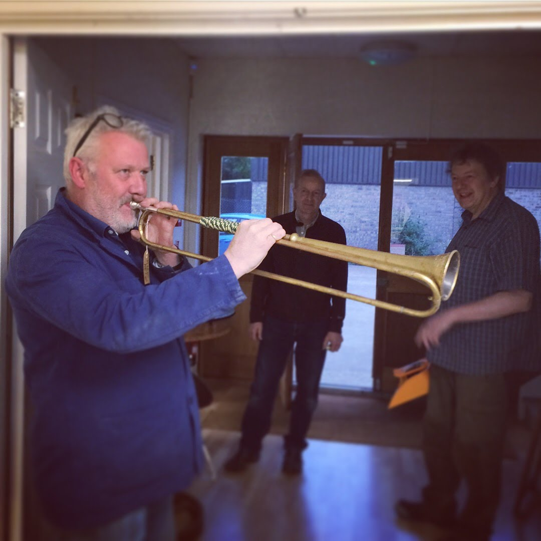 Simon Rees jewellery playing trumpet at Cambridge Makers