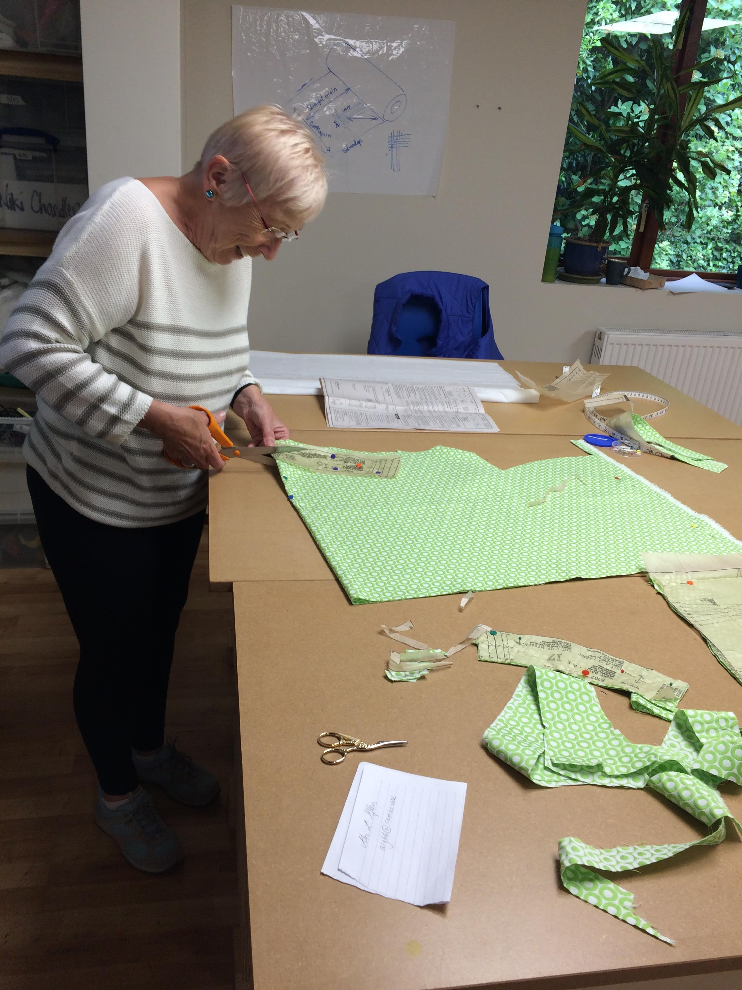 Pip cutting pieces sewing course Dress Making with Gill Collinson at Cambridge Art Makers