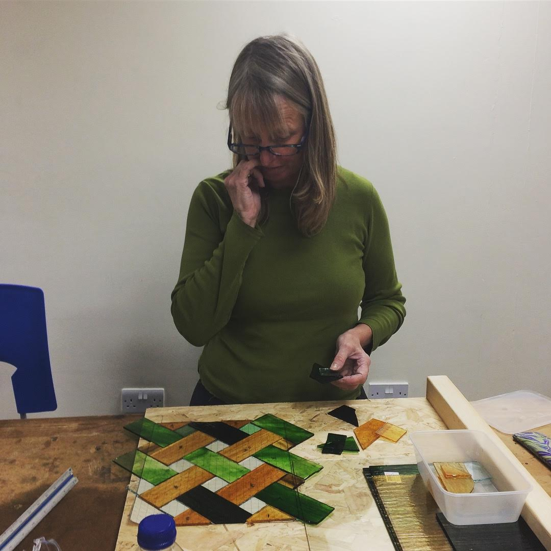 Gill making a window Stained Glass courses with Jill Fordham at Cambridge Art Makers