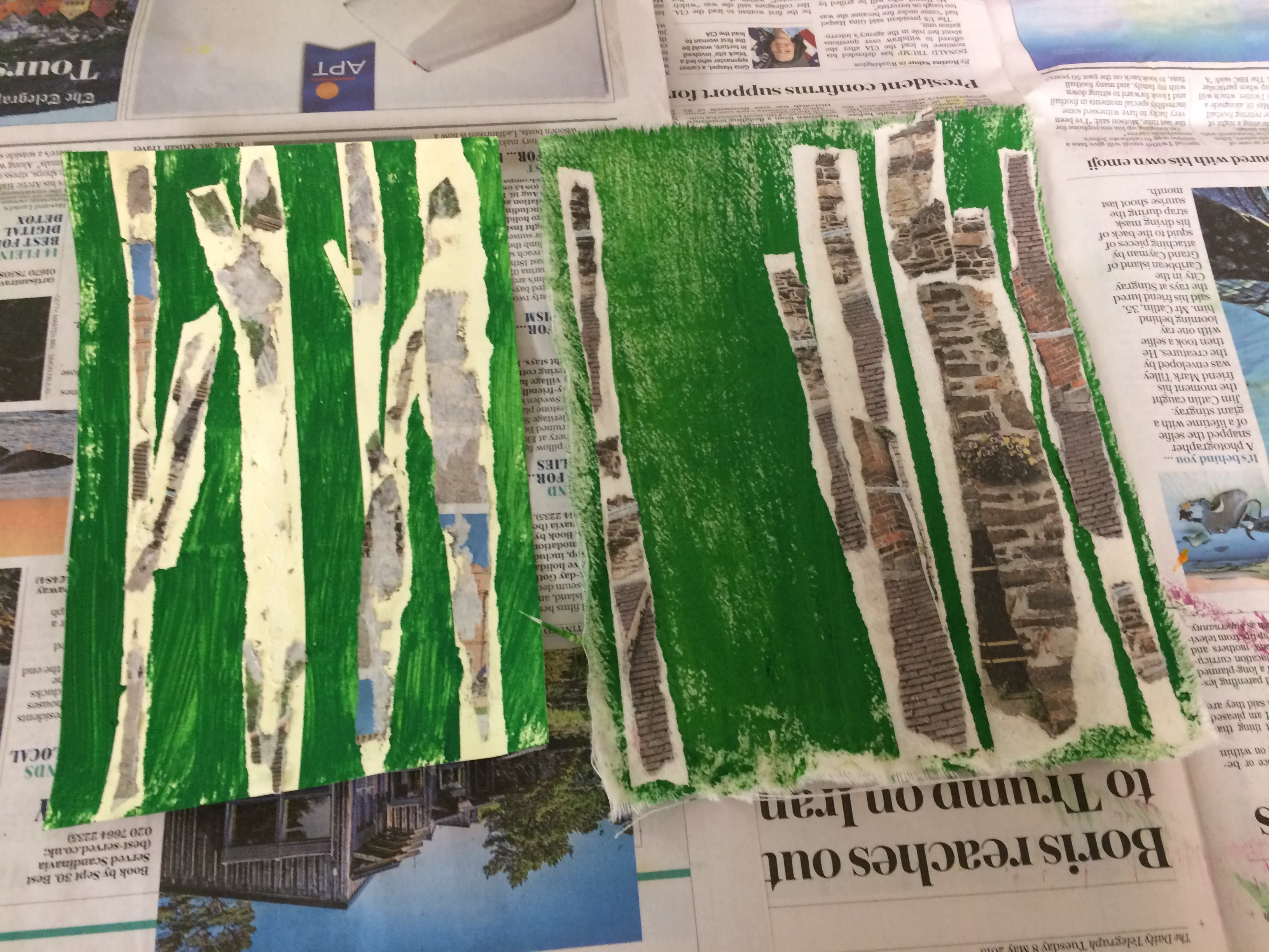 Mixed Media trees courses with Gill Collinson at Cambridge Art Makers