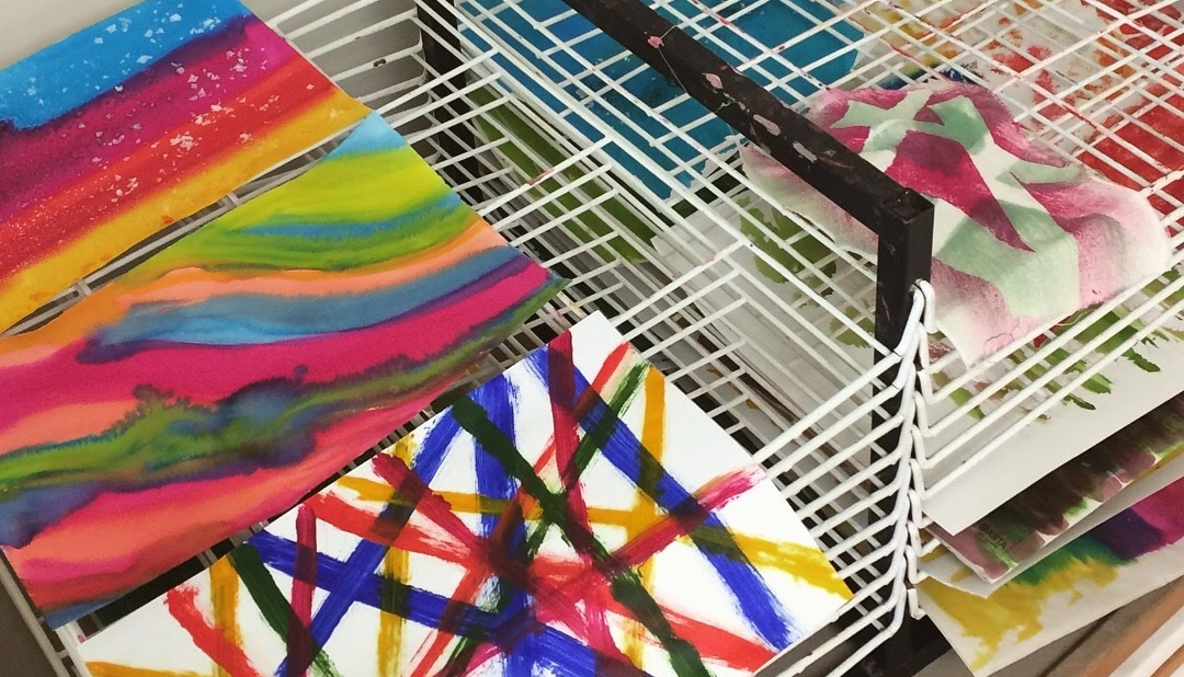 Textiles & Mixed Media classes with Gill Collinson at Cambridge Art Makers drying racks