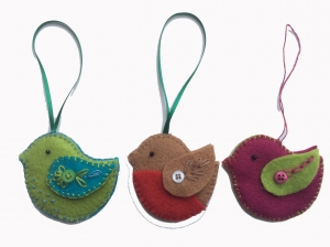 Felt birds sewing courses with Gill Collinson at Cambridge Art Makers