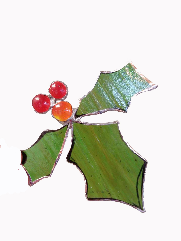 Stained Glass Holly Christmas Jill Fordham Cambridge Art Makers Christmas courses