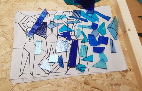 Making stained glass water at Cambridge Art Makers with Jill Fordham