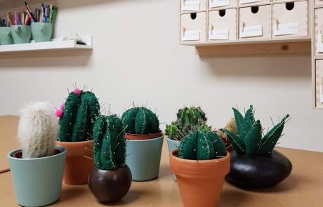 Cactus pin cushions at Cambridge Art Makers