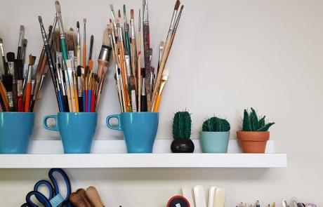 Shelves at Cambridge Art Makers