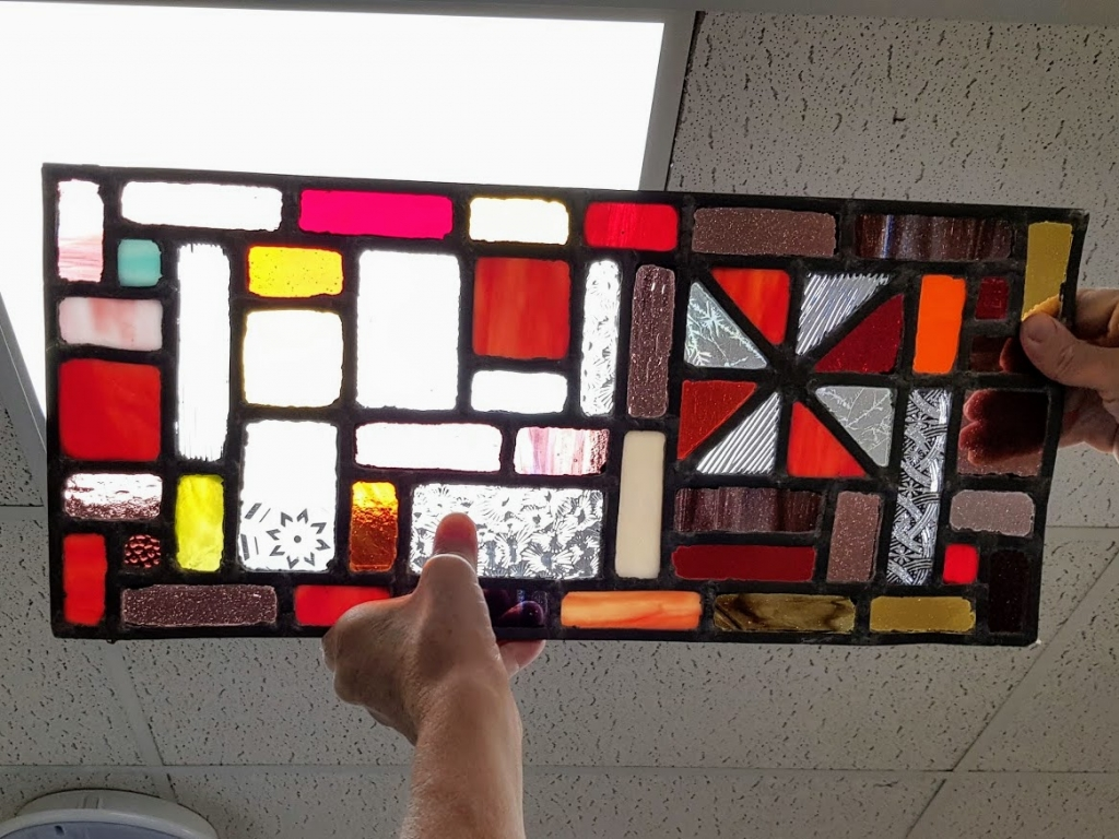 Emma's stained glass from course with Jill Fordham at Cambridge Art Makers