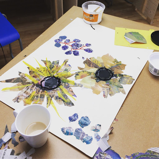 Mixed Media Sunflowers at Cambridge Art Makers