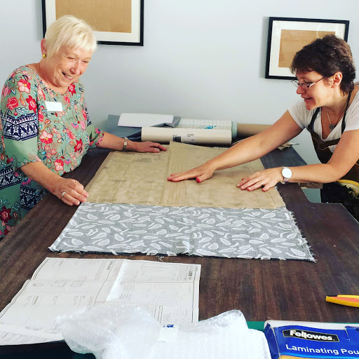 Cutting out pattern pieces Dress Making course with Gill Collinson at Cambridge Art Makers