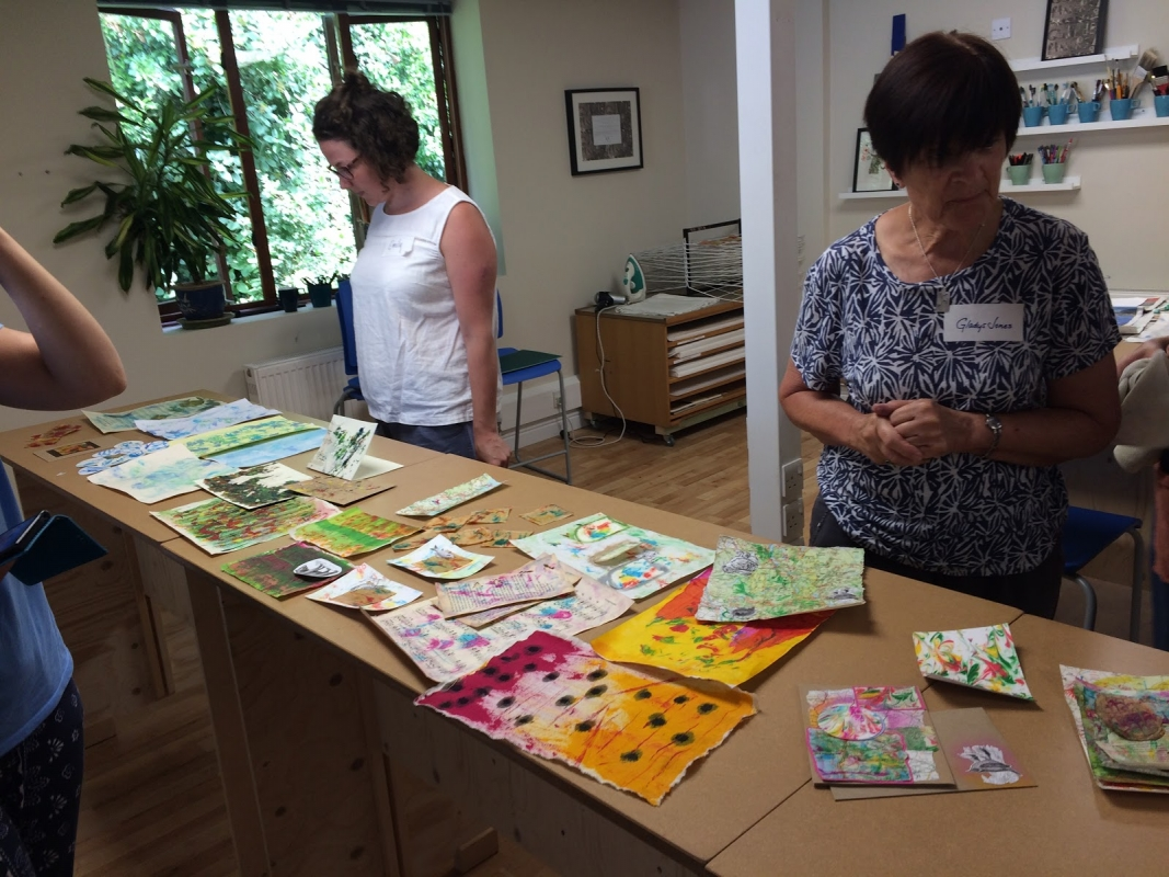 Admiring finished pieces Textiles& Mixed Media courses with Gill Collinson at Cambridge Art Makers