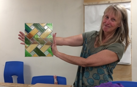 Gill's window Stained Glass courses with Jill Fordham at Cambridge Art Makers