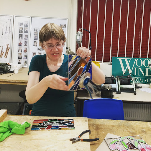 Amy and her glass pieces Stained Glass courses with Jill Fordham at Cambridge Art Makers