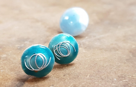 Enamelled silver earrings Enamelling Courses with Sheila McDonald at Cambridge Art Makers