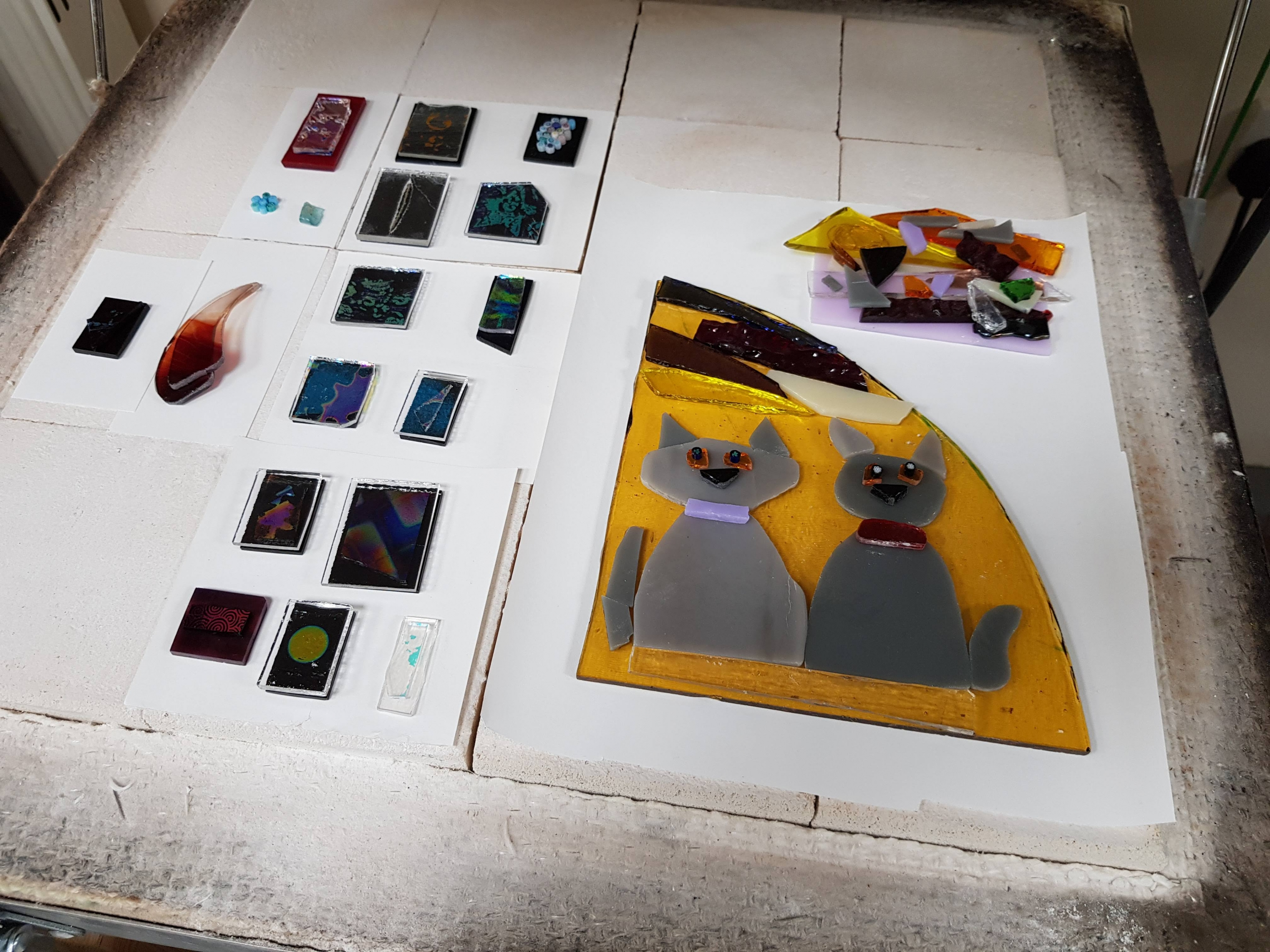 pre firing Glass Fusing courses with Jill Fordham at Cambridge Art Makers