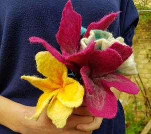 Felted flowers Felting courses with Gill Collinson at Cambridge Art Makers