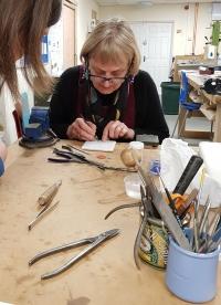 Sheila McDonald Enamelling with Cambridge Art Makers