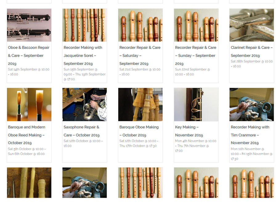 Calendar of Cambridge Woodwind Makers Events