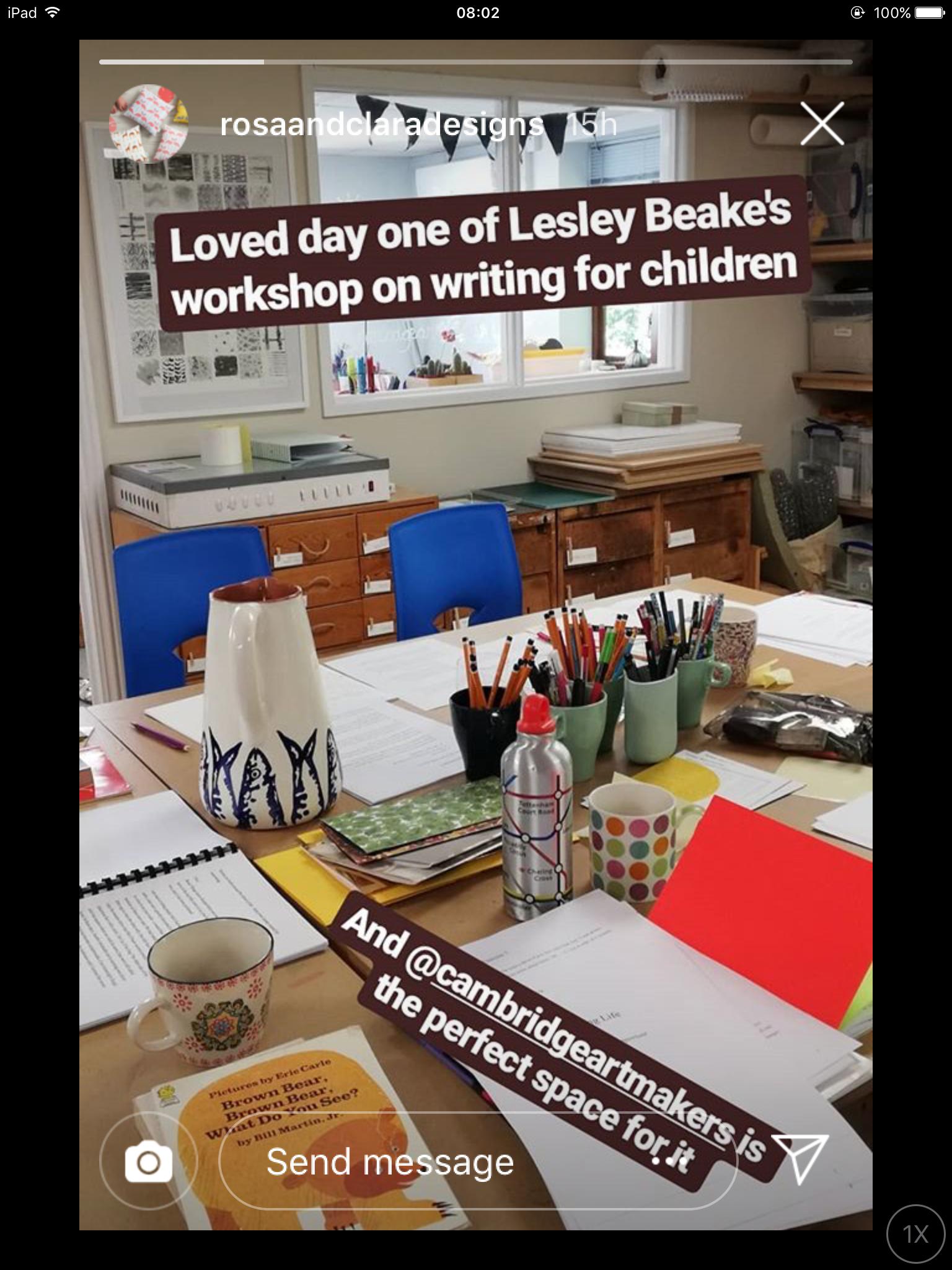 Rosa and Clara Designs Writing Life with Lesley Beake at Cambridge Makers