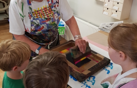 Mini Makers Screen Printing with Sarah Ruff at Cambridge Art Makers