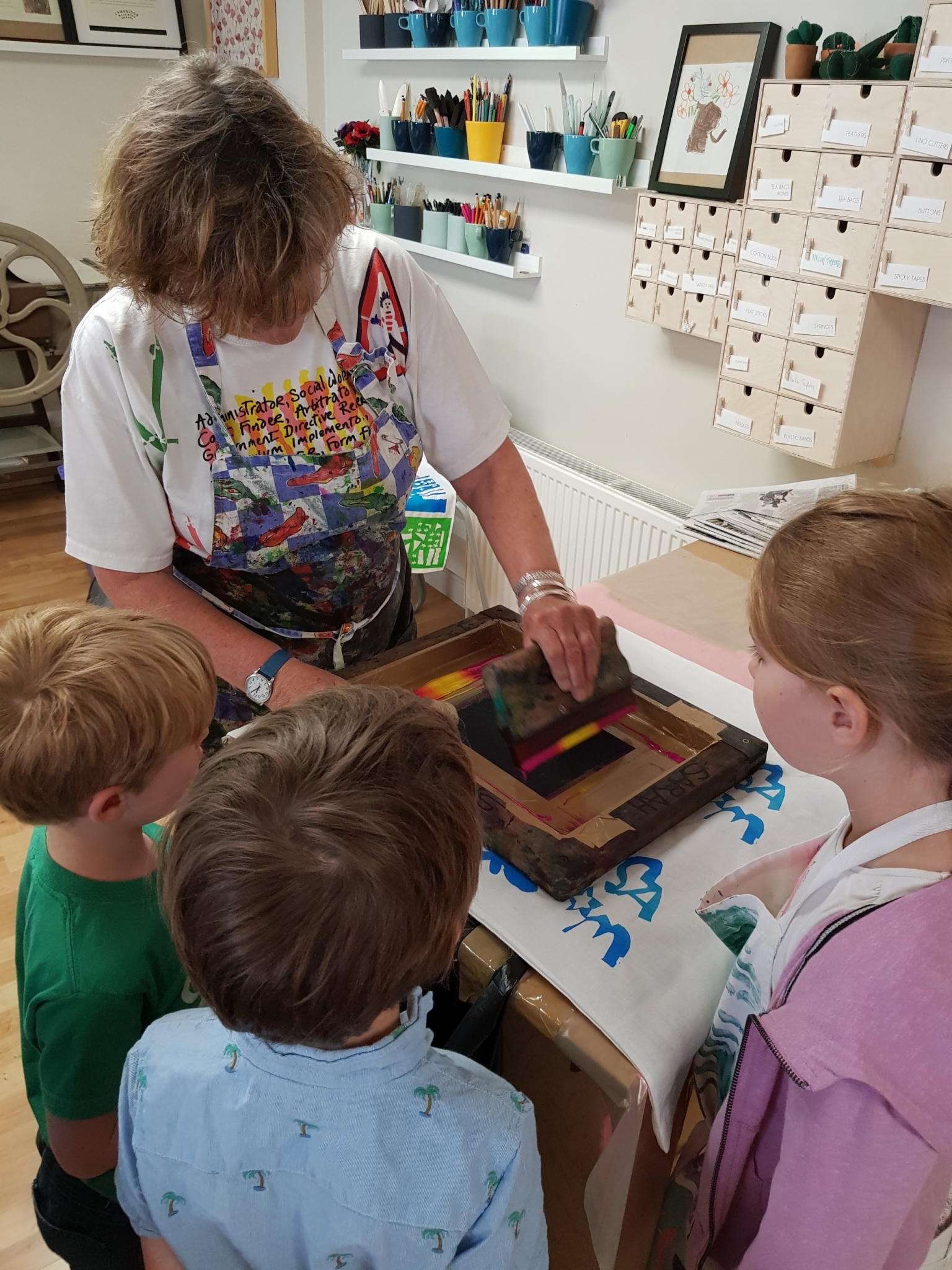 Mini Makers Screen Printing with Sarah Ruff at Cambridge Art Makers
