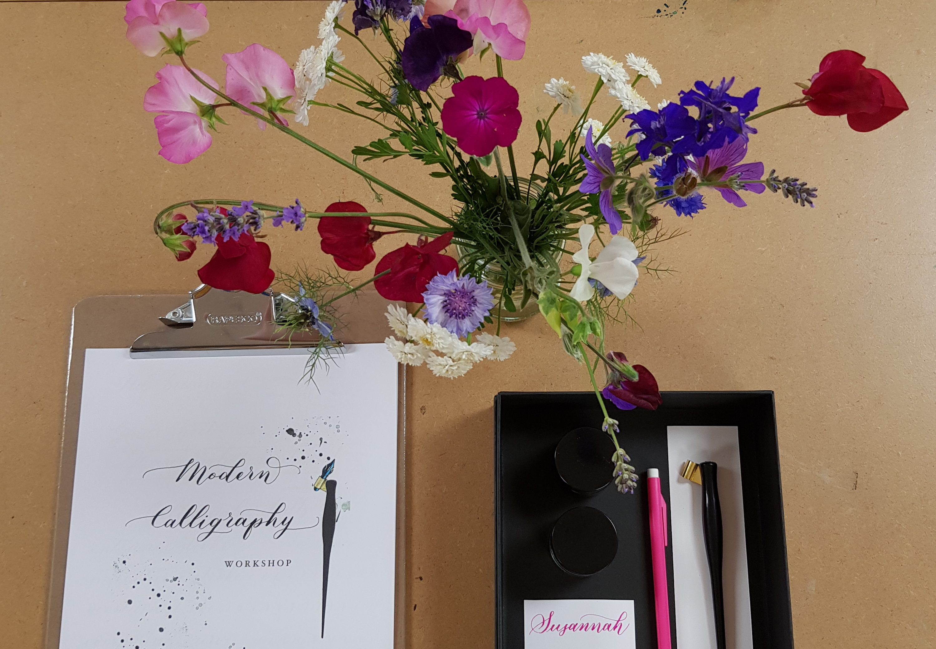 Calligraphy with Danielle Lummis at Cambridge Art Makers Flowers
