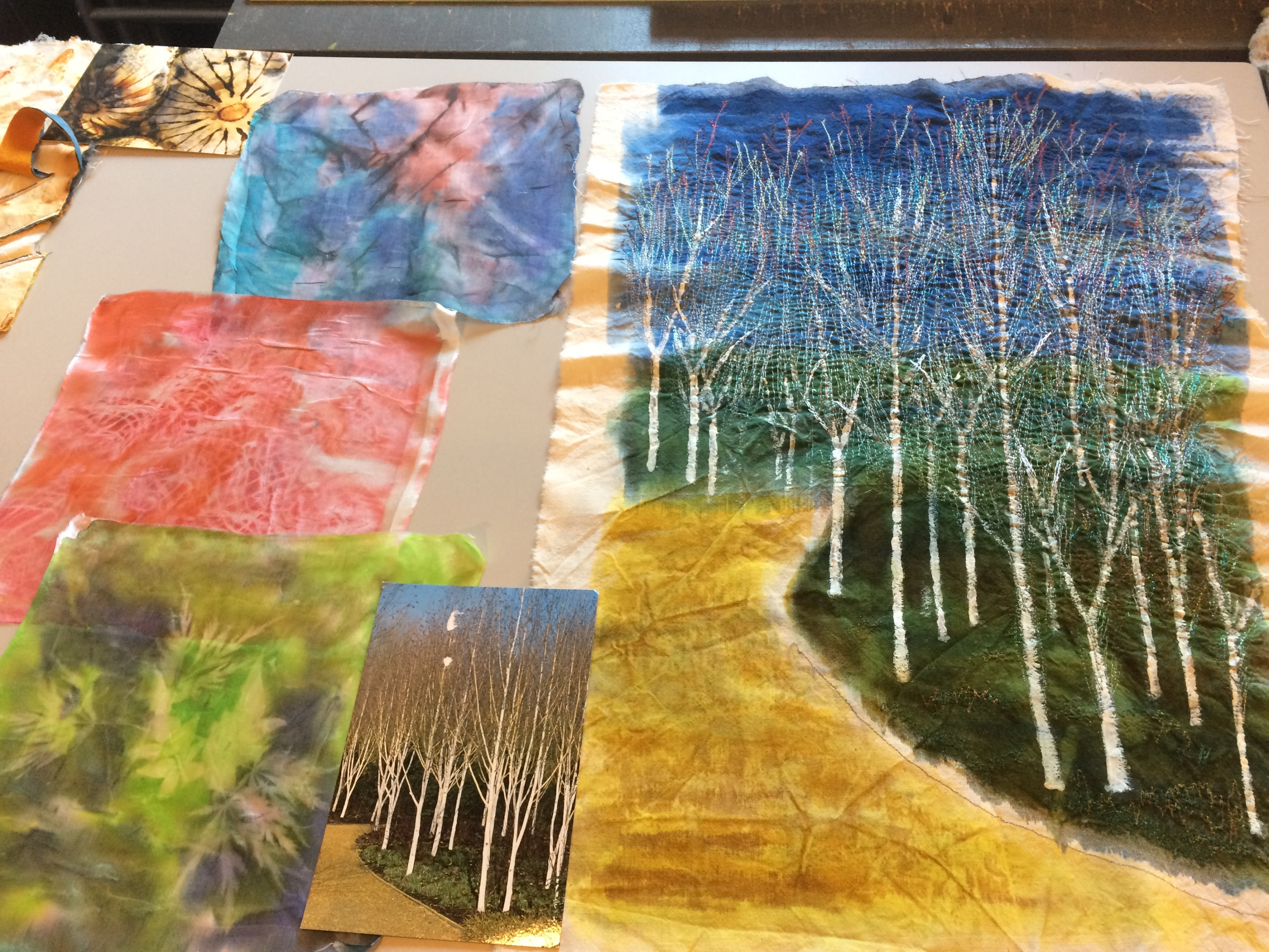 Textile Trees on Textiles & Mixed Media course with Gill Collinson at Cambridge Art Makers