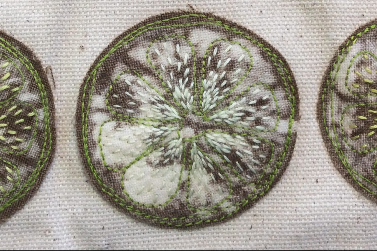Stitched citrus slices Textiles & Mixed Media course with Gill Collionson at Cambridge Art Makers
